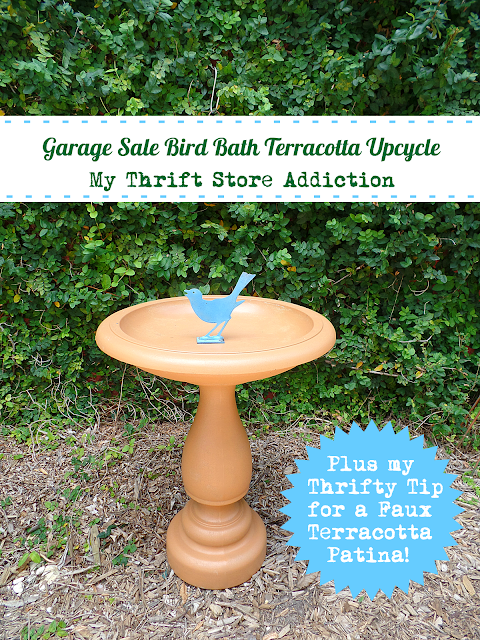 garage sale bird bath upcycle with terracotta patina