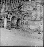 Toklu Dede Mescidi, March 1937. The Byzantine church built in the 11th and early 12th century, lasted until 1929, when it was sold for building materials. Only the south wall, decorated with frescoes and part of the apse were saved from demolition. The Archaeological Service of Turkey (WDD) found no trace of the church in 2008 [Credit: © Nicholas V. Artamonoff Collection, Image Collections and Fieldwork Archives, Dumbarton Oaks]