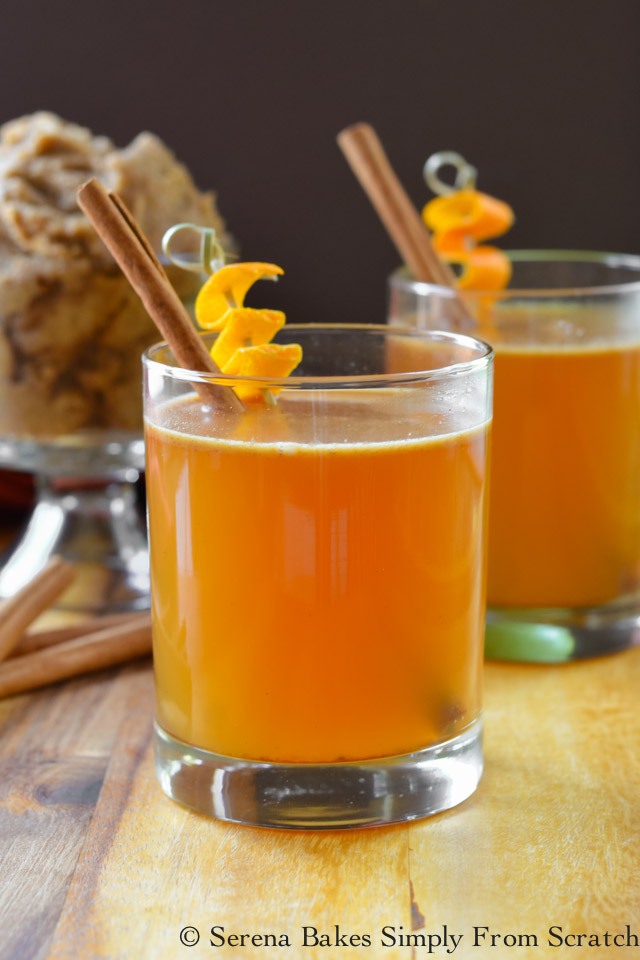 Hot Apple Cider Buttered Whiskeys are a perfect warm up for holiday entertaining.
