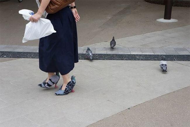 Mujer japonesa es captada con tacones que se ven exactamente como palomas