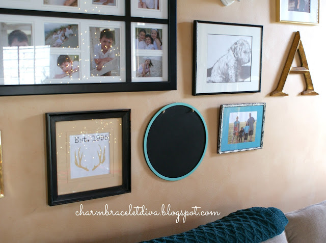 Gallery wall with turquoise accents