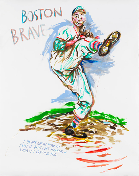 Raymond Pettibon No Title (Boston Brave), 2017 Acrylic and colored pencil on paper 160 x 127.6 cm