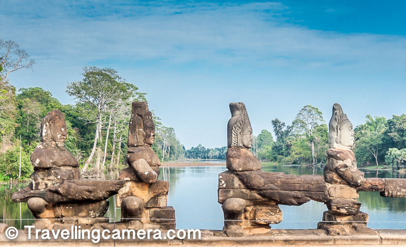 The Historical City of Angkor Thom lies on the bank of the Siem Reap River, which is a tributary of Great Tonle Sap. The city was established in the late 12th century by King Jayavarman VII. Bayon is the most famous temple in this complex, but there are several interesting structures that make for some very interesting explorations in this city spanning 9 sq km, such as the Baphuon, Phimeanakas, and the temple of the Leper King.