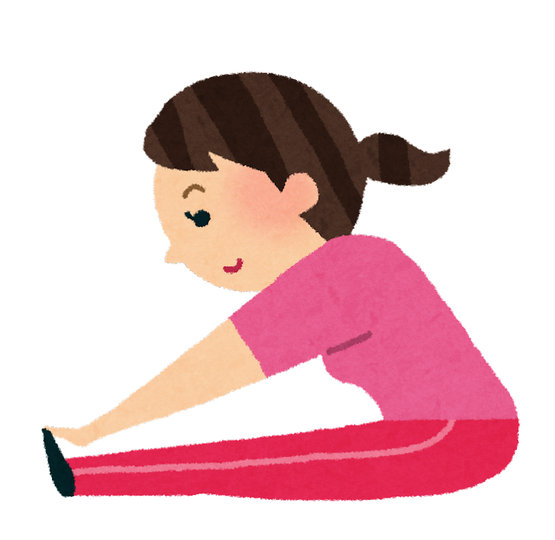 柔軟体操をする女性のイラスト | かわいいフリー素材集 いらすとや