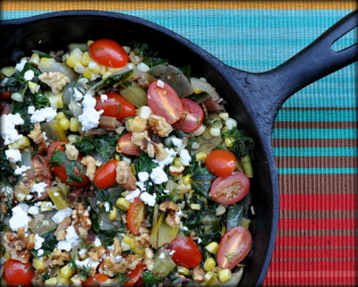 Swiss Chard Skillet Supper with Tomatoes, Corn, Fresh Dill & Feta, a great vegetarian supper recipe, one of the best vegetarian dishes I've made all year! Seasonal. Low Carb. Low Fat. Weight Watchers Friendly Friendly. Naturally Gluten Free. Healthy and delicious, no beating that combination!