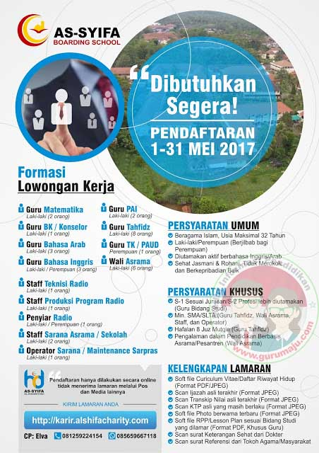 Pamflet Penerimaan Guru di As-Syifa Boarding School