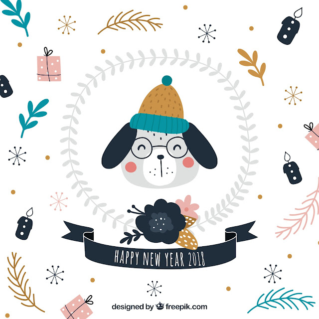 Illustration of Dog Wearing Bobble Hat for New Year