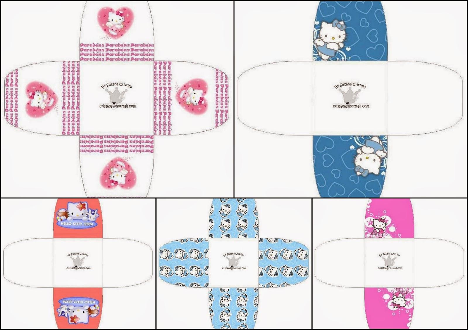 Hello Kitty: Cajitas Abiertas para imprimir Gratis.