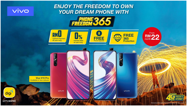 Grab your vivo V15Pro at DIGI from RM22 per month