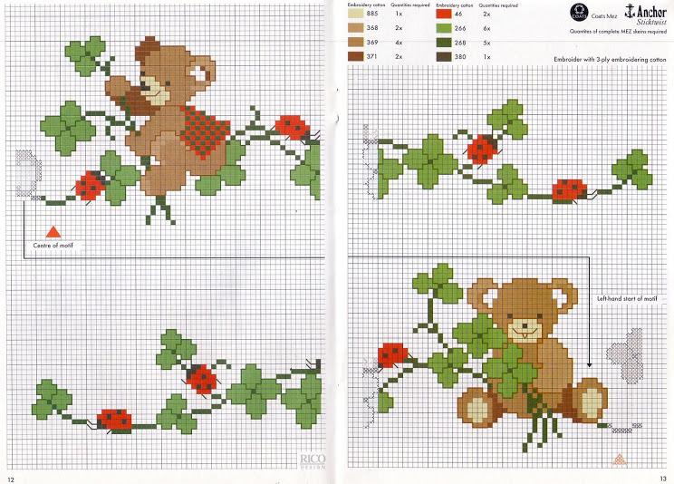 Osos, Palomas y algunas Flores en Punto Cruz | Crochet