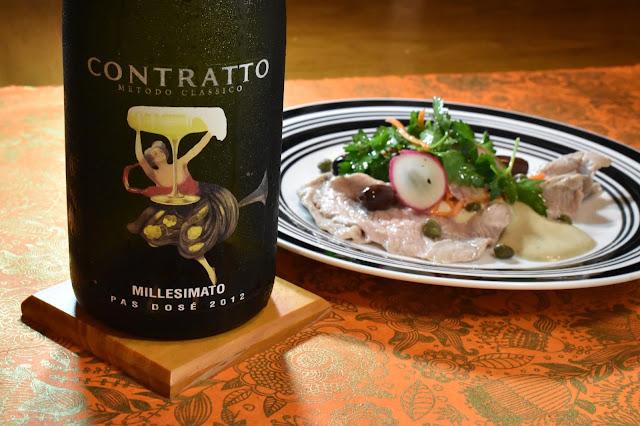 Contratto Millesimato and Vitello Tonnato Sous Vide. Photo by Greg Hudson. Recipe by Nicole Ruiz Hudson