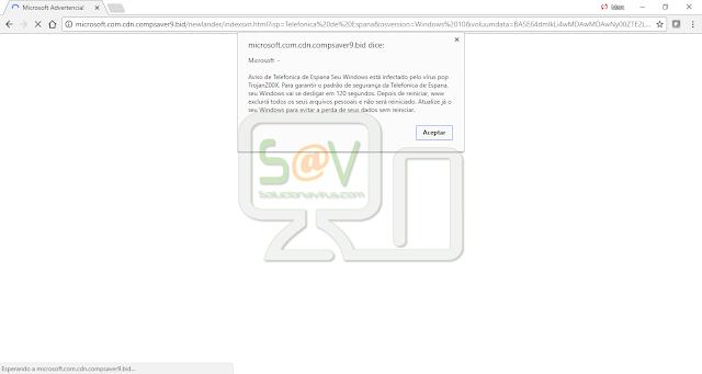 Aviso de Telefonica Espana Seu Windows está infectado pelo vírus pop TrojanZ00X