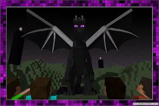 Ender Dragon Minecraft: Invitaciones para Imprimir Gratis.