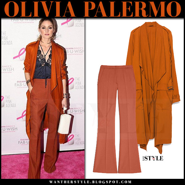 Olivia Palermo in orange waterfall zara coat, orange wide leg trousers max and co and silk top what she wore red carpet