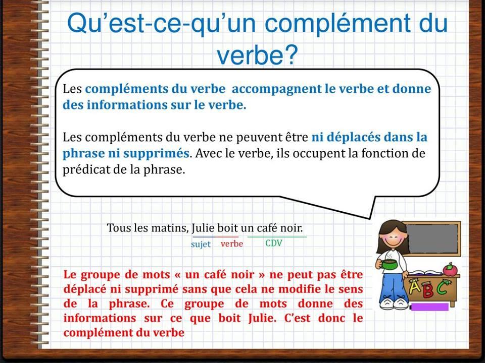 le complément du verbe leçon