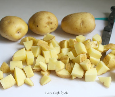 Prep your potatoes and chop into small pieces