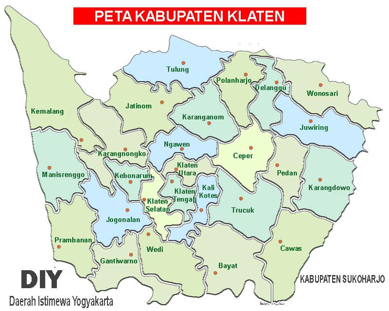 Gambar Peta Kabupaten Klaten, Jawa Tengah Lengkap