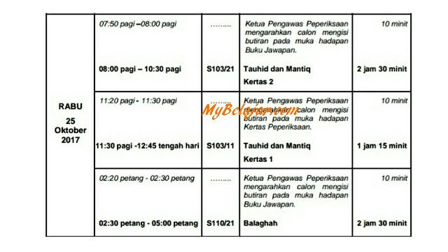 Jadual Waktu Peperiksaan STAM 2017