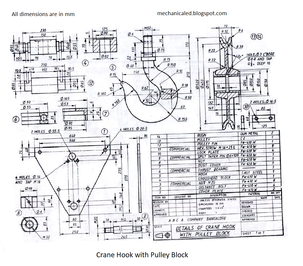 hight resolution of crane hook assembly drawing practice more and more to grow skills