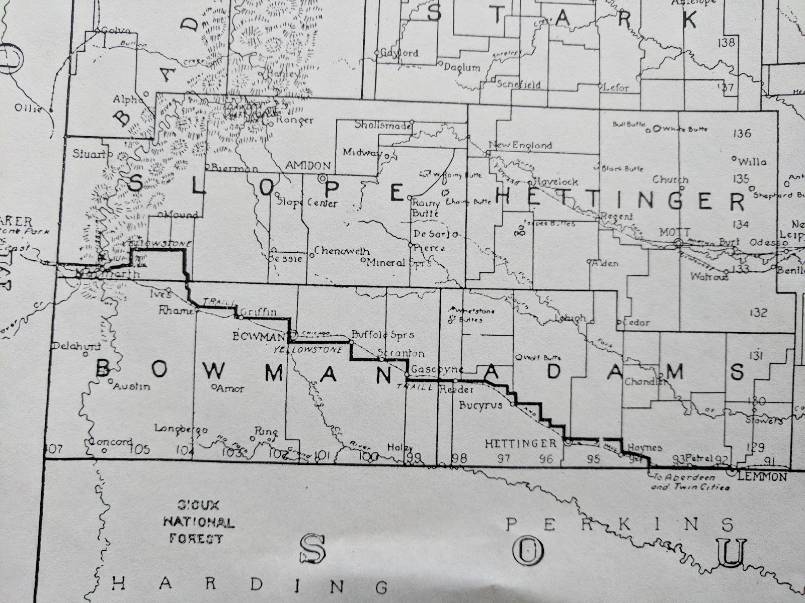 below is one of my little missouri national grasslands maps with the route marked as per my aunt junette she remembers that there was at one time a marker