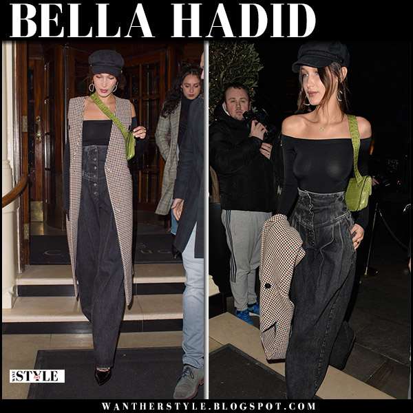 Bella Hadid in sleeveless coat claudia li and high rise wide leg jeans sara battaglia street style december 7
