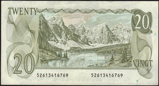 Canada money currency 20 Dollar Note 1979 Moraine Lake and the Valley of the Ten Peaks