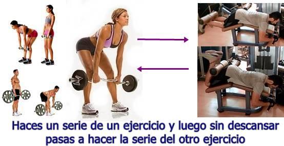 Biserie de los ejercicios peso muerto y flexión de femorales