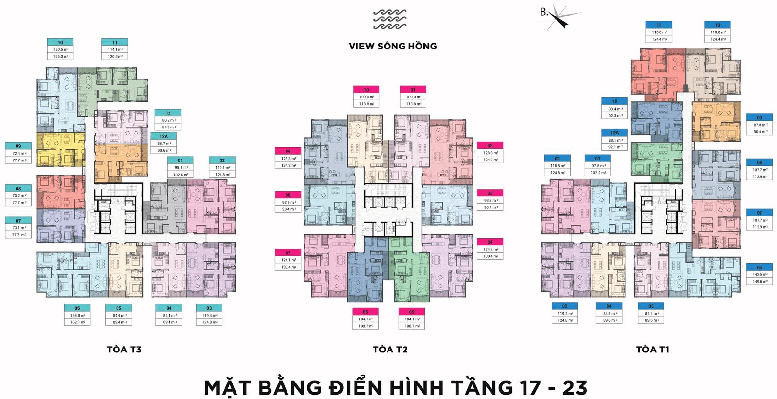 Mặt bằng điển hình tầng 17 đến 23 chung cư Sun Grand City Ancora Residence Lương Yên