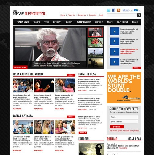 WP magazine theme template psd