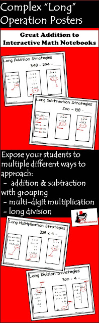 Free long operations poster for subtracting with regrouping, adding with regrouping, multiplying and long division - free download from Raki's Rad Resources.