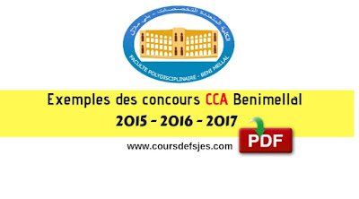Concours Master CCA Beni Mellal 2015 - 2016 - 2017