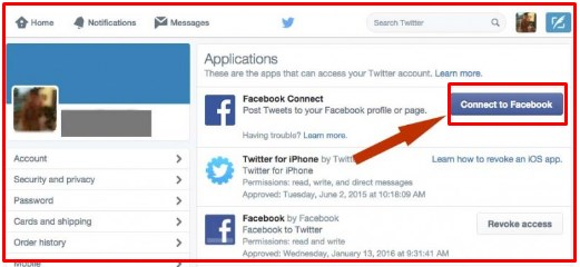 linking twitter to facebook fan page