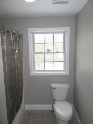 The finished bathroom paint job.
