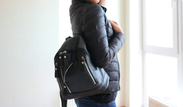 Faux Leather Zipper Backpack - Black