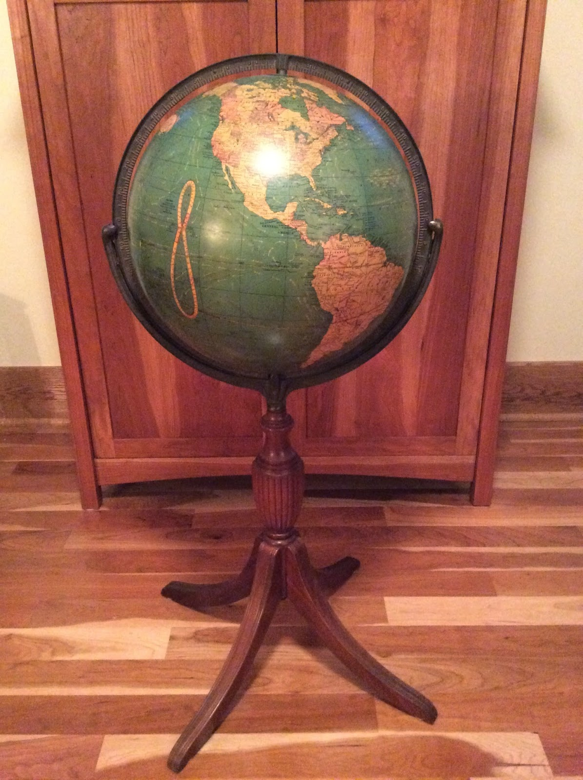 world globe town house study in furniture floors with dolls standing stand walnut floor miniature