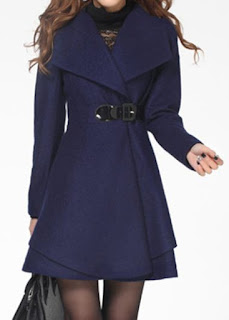 Long Sleeve Shawl Collar Layered Navy Blue Coat