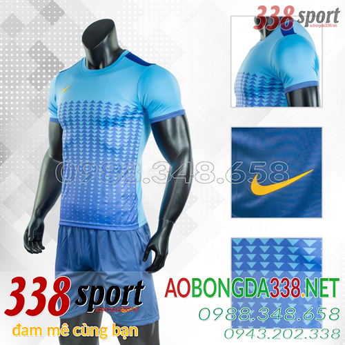 Áo Bóng Đá Không Logo Đẹp Nike Aro Xanh Nhạt