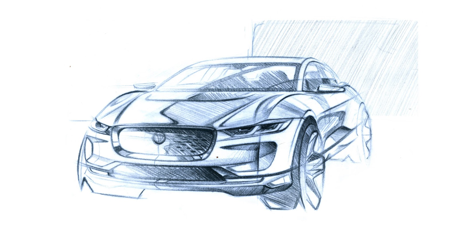 Jaguar I-Pace pencil sketch - front view
