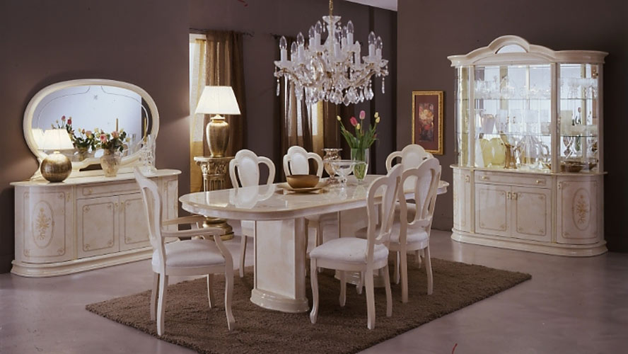 White Classic Italian Dining Room Furniture Sets Toronto