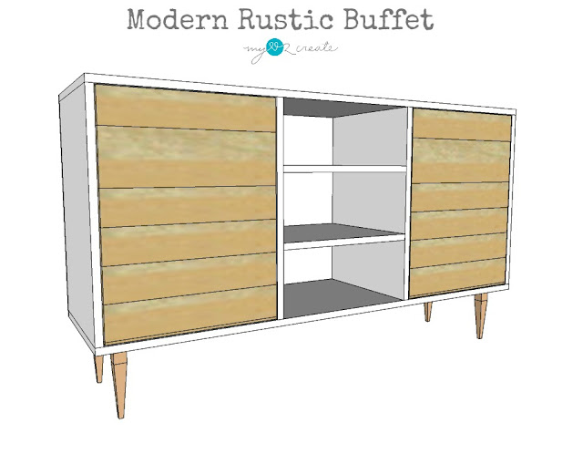 Build your own Modern Rustic Buffet with free building plans and picture tutorial at MyLove2Create