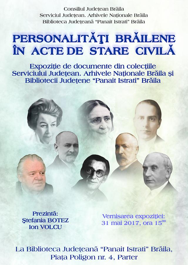 """""""Personalități brăilene în acte de stare civilă"""""""