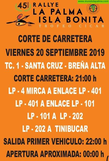 Cortes de carretera programados 45º edición del Rallye La Palma Viernes 20/9/2019
