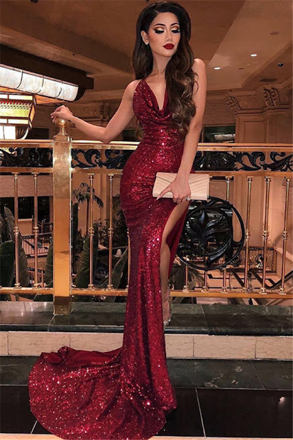 Sexy Sequins Burgundy Mermaid Prom Dresses | V-Neck Sleeveless Side Slit Evening Dresses