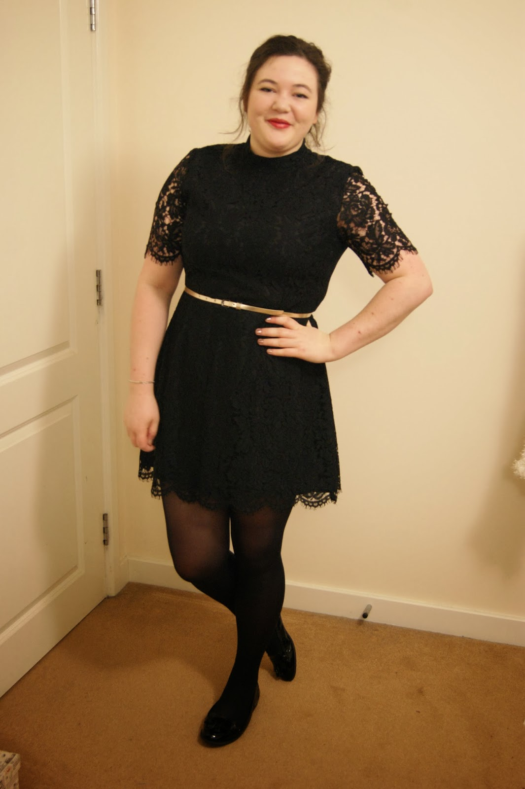 8a1bd3a0aab6 Dress: c/o Marks and Spencer, belt: Primark, tights: John Lewis, shoes:  Clarks, excited face: model's own!