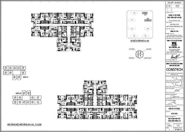 Mặt bằng tòa A1, A2 chung cư An Bình City