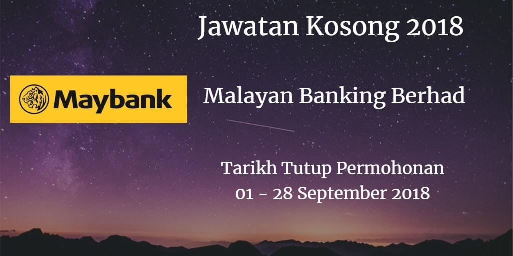 Jawatan Kosong Maybank 01 - 28 September 2018
