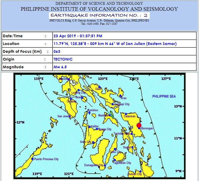 Magnitude 6.5 earthquake hits Visayas