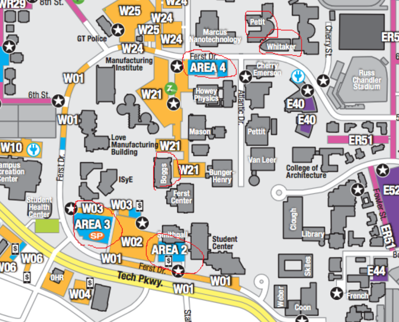 Ga Tech Campus Map Open Notebook: Georgia Tech Campus map