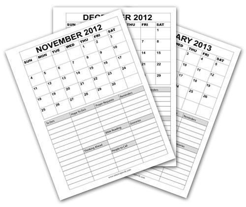 Printable Calendars for November, December & January