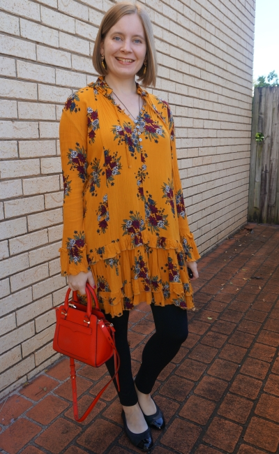 Zaful floral print ruffle hem dress in ginger with leggings in autumn swing dress style | awayfromblue